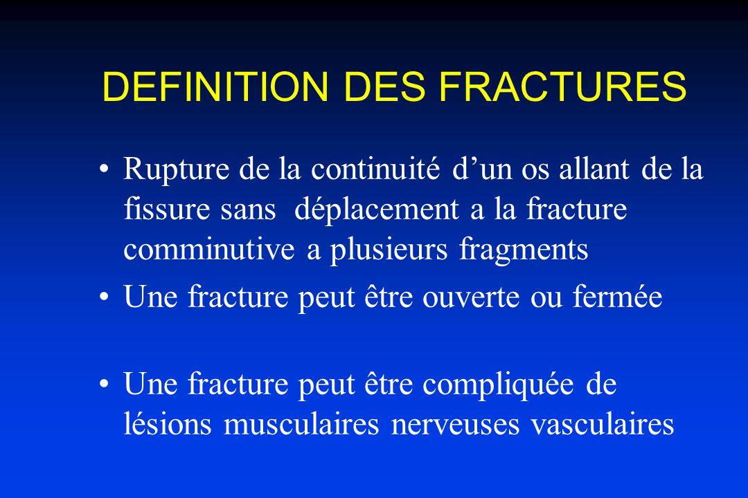 DEFINITION DES FRACTURES Rupture de la continuité dun os allant de la fissure sans déplacement a la fracture comminutive a plusieurs fragments Une fracture peut être ouverte ou fermée Une fracture peut être compliquée de lésions musculaires nerveuses vasculaires
