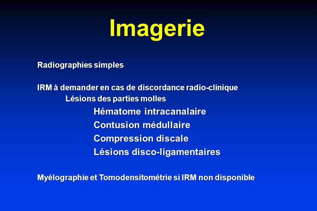 Imagerie Radiographies simples IRM à demander en cas de discordance radio-clinique Lésions des parties molles Hématome intracanalaire Contusion médullaire Compression discale Lésions disco-ligamentaires Myélographie et Tomodensitométrie si IRM non disponible