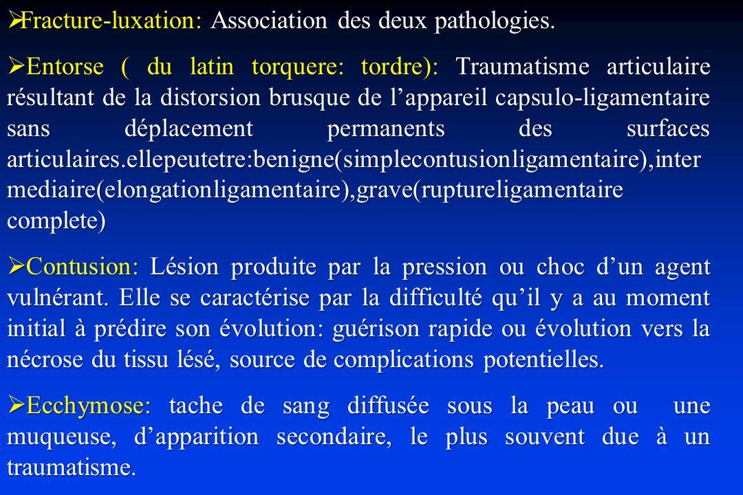 Complications vasculaires Prise des pouls Doppler ou artériographie : Section, compression, dissection intimale