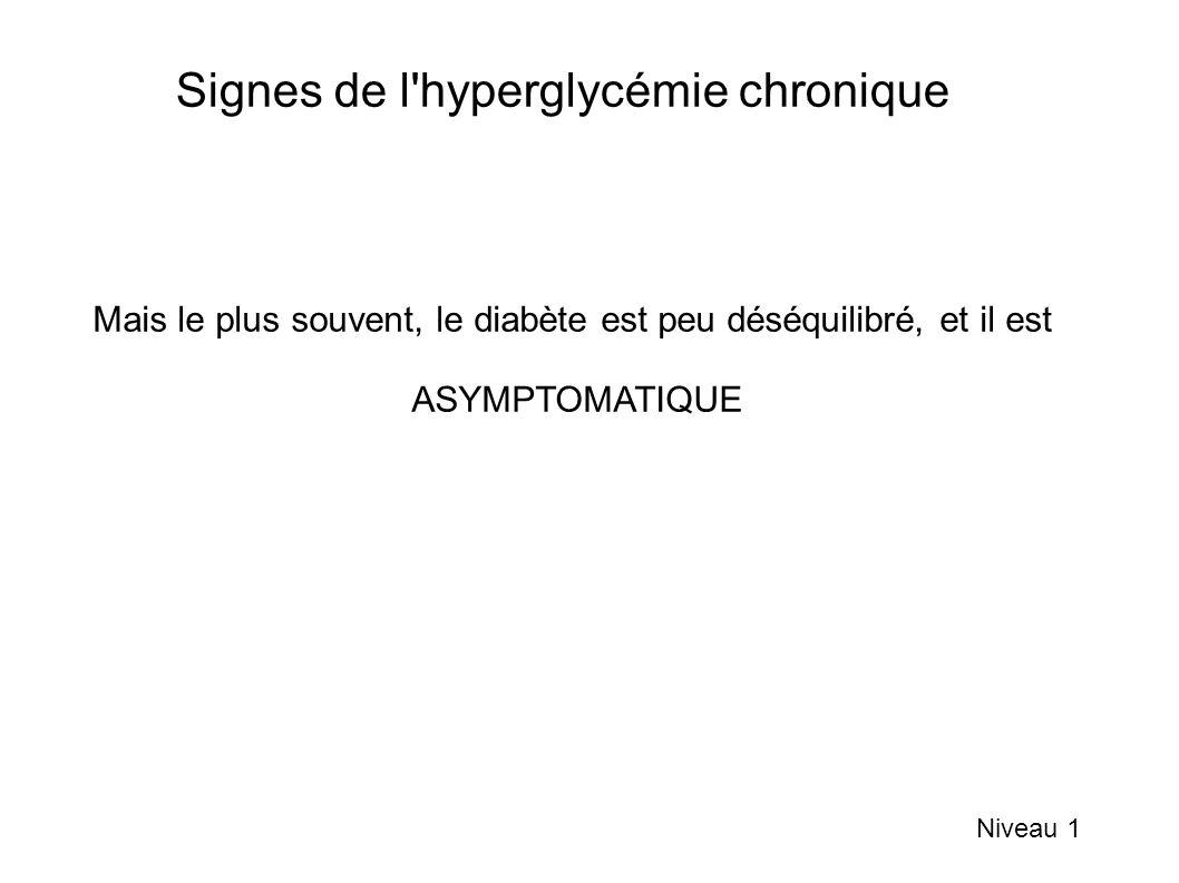 Signes de l'hyperglycémie chronique Niveau 1 Mais le plus souvent, le diabète est peu déséquilibré, et il est ASYMPTOMATIQUE