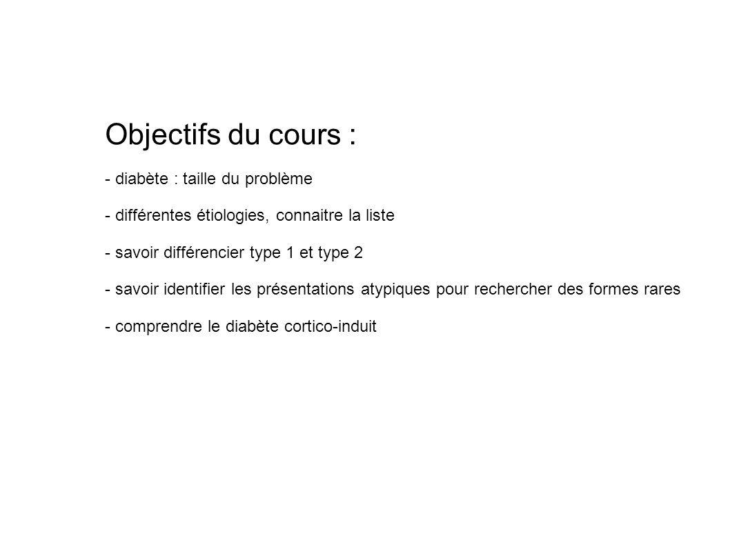 Objectifs du cours : - diabète : taille du problème - différentes étiologies, connaitre la liste - savoir différencier type 1 et type 2 - savoir ident
