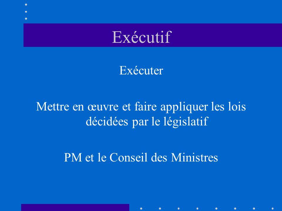Exécutif Exécuter Mettre en œuvre et faire appliquer les lois décidées par le législatif PM et le Conseil des Ministres