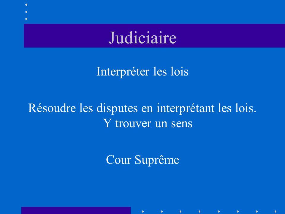 Judiciaire Interpréter les lois Résoudre les disputes en interprétant les lois. Y trouver un sens Cour Suprême