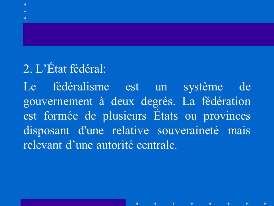 2. LÉtat fédéral: Le fédéralisme est un système de gouvernement à deux degrés. La fédération est formée de plusieurs États ou provinces disposant d'un