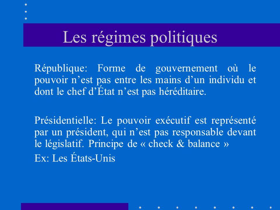 Les régimes politiques République: Forme de gouvernement où le pouvoir nest pas entre les mains dun individu et dont le chef dÉtat nest pas héréditair