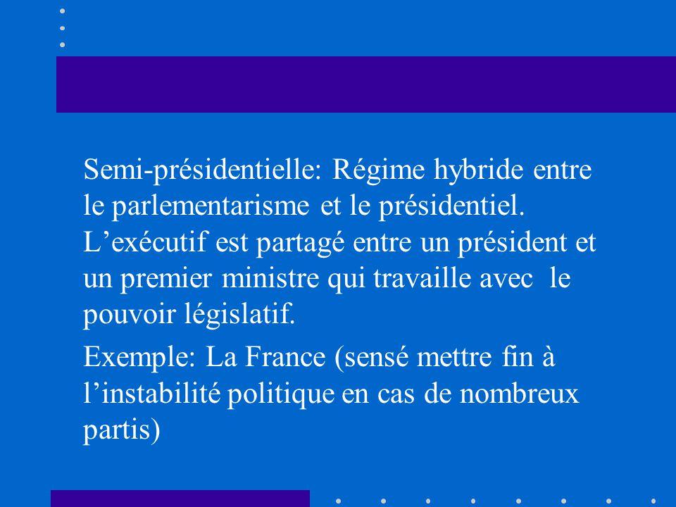 Semi-présidentielle: Régime hybride entre le parlementarisme et le présidentiel. Lexécutif est partagé entre un président et un premier ministre qui t