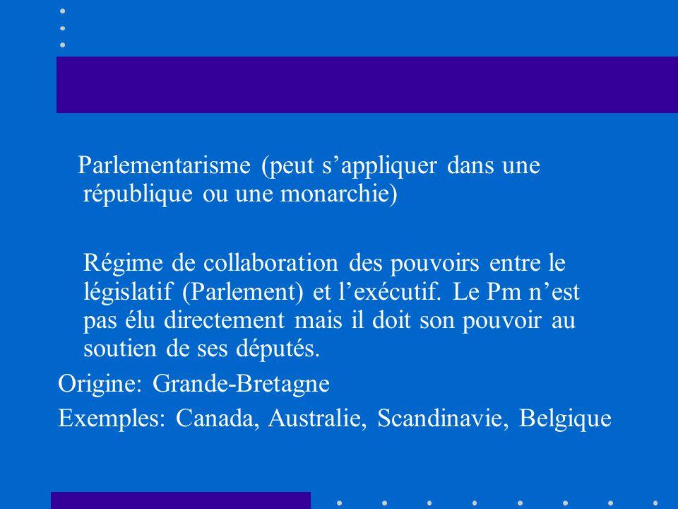 Parlementarisme (peut sappliquer dans une république ou une monarchie) Régime de collaboration des pouvoirs entre le législatif (Parlement) et lexécut