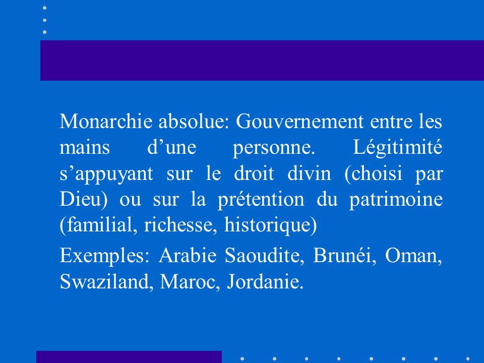 Monarchie absolue: Gouvernement entre les mains dune personne. Légitimité sappuyant sur le droit divin (choisi par Dieu) ou sur la prétention du patri