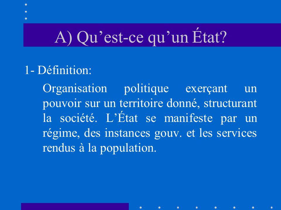 A) Quest-ce quun État? 1- Définition: Organisation politique exerçant un pouvoir sur un territoire donné, structurant la société. LÉtat se manifeste p