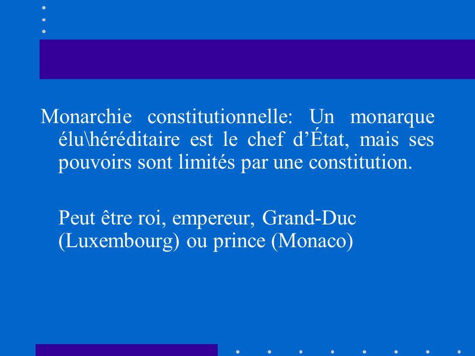 Monarchie constitutionnelle: Un monarque élu\héréditaire est le chef dÉtat, mais ses pouvoirs sont limités par une constitution. Peut être roi, empere