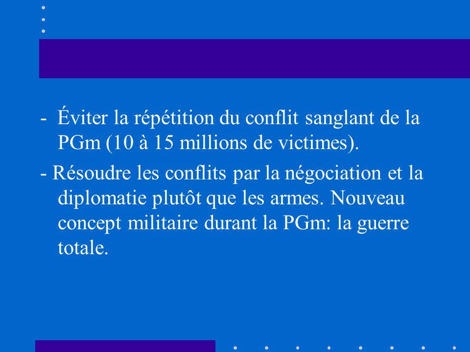 - Éviter la répétition du conflit sanglant de la PGm (10 à 15 millions de victimes). - Résoudre les conflits par la négociation et la diplomatie plutô