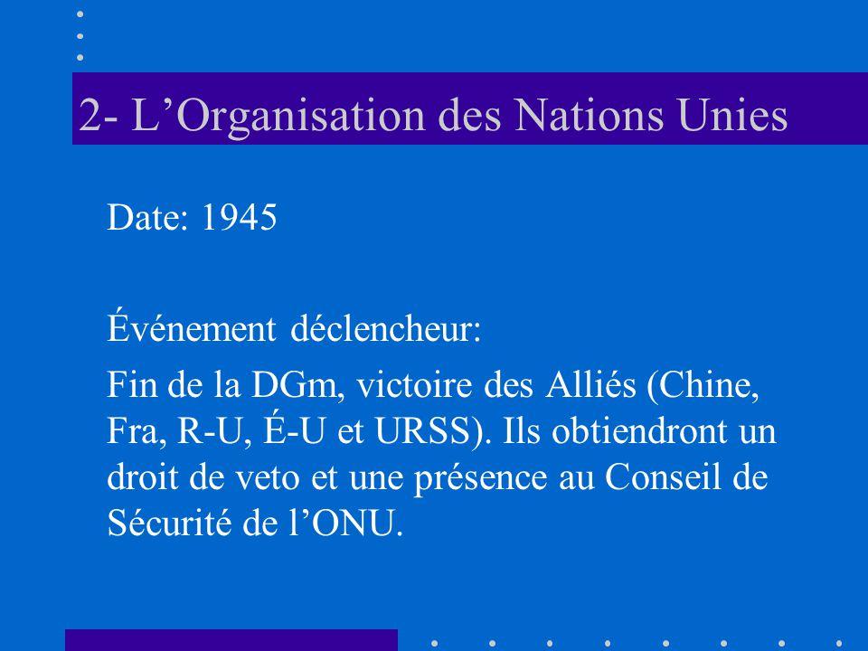 2- LOrganisation des Nations Unies Date: 1945 Événement déclencheur: Fin de la DGm, victoire des Alliés (Chine, Fra, R-U, É-U et URSS). Ils obtiendron