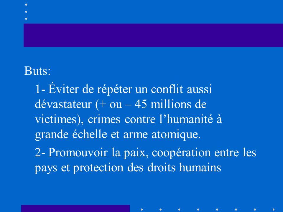 Buts: 1- Éviter de répéter un conflit aussi dévastateur (+ ou – 45 millions de victimes), crimes contre lhumanité à grande échelle et arme atomique. 2