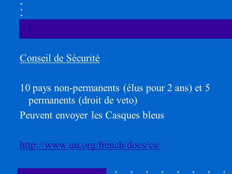 Conseil de Sécurité 10 pays non-permanents (élus pour 2 ans) et 5 permanents (droit de veto) Peuvent envoyer les Casques bleus http://www.un.org/frenc
