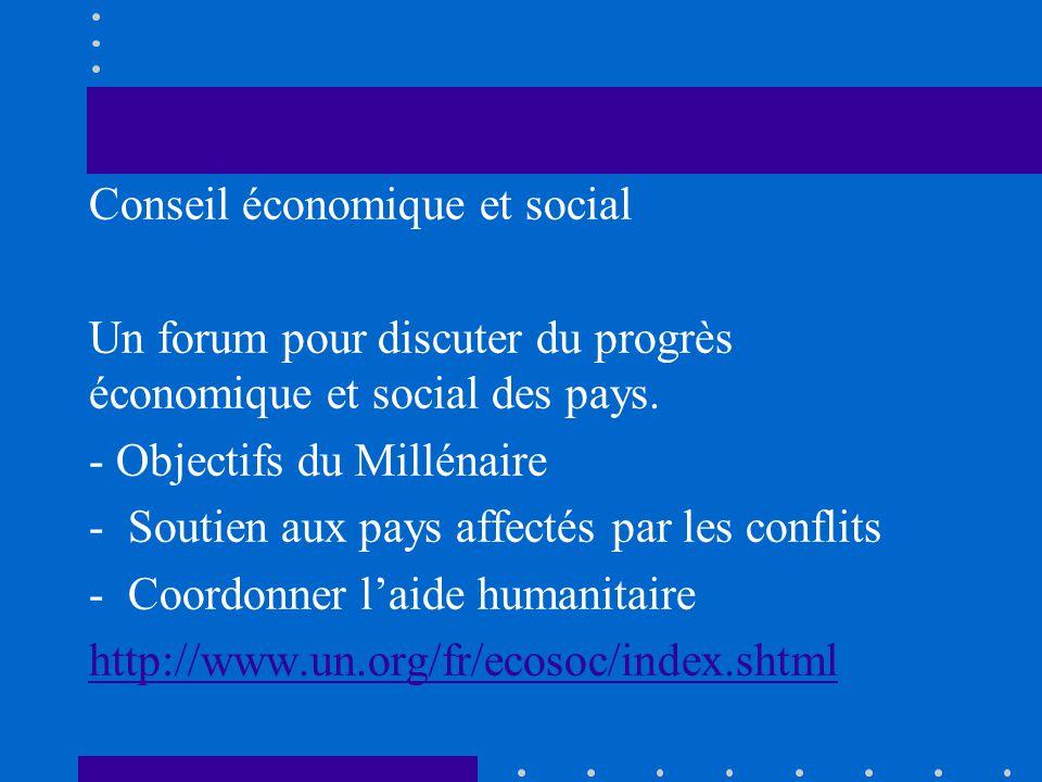 Conseil économique et social Un forum pour discuter du progrès économique et social des pays. - Objectifs du Millénaire -Soutien aux pays affectés par