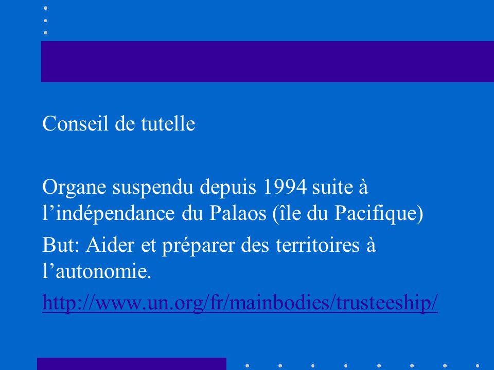 Conseil de tutelle Organe suspendu depuis 1994 suite à lindépendance du Palaos (île du Pacifique) But: Aider et préparer des territoires à lautonomie.