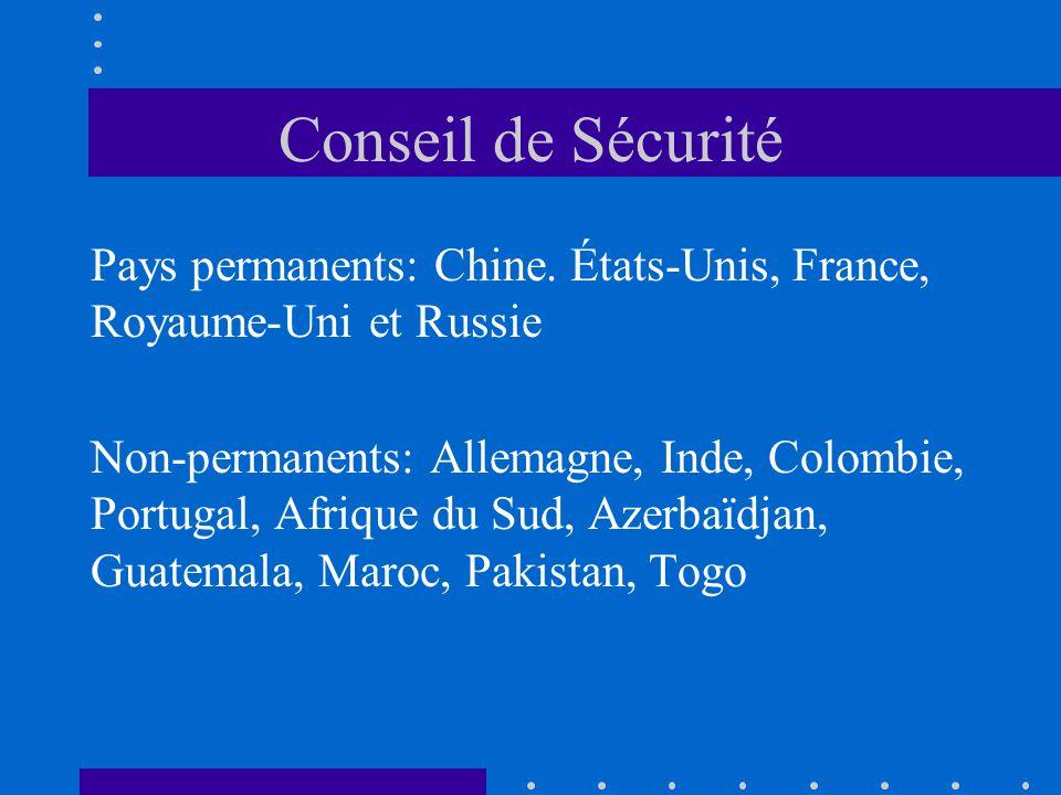 Conseil de Sécurité Pays permanents: Chine. États-Unis, France, Royaume-Uni et Russie Non-permanents: Allemagne, Inde, Colombie, Portugal, Afrique du