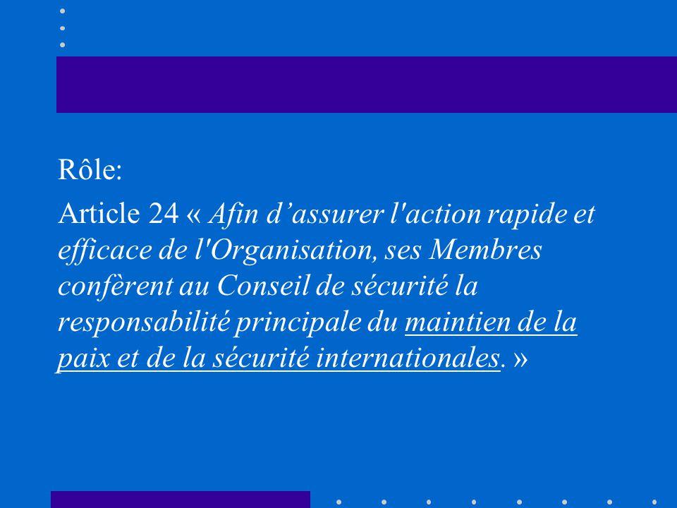 Rôle: Article 24 « Afin dassurer l'action rapide et efficace de l'Organisation, ses Membres confèrent au Conseil de sécurité la responsabilité princip
