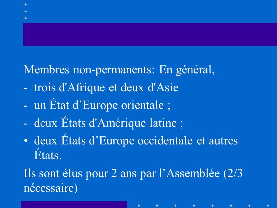 Membres non-permanents: En général, -trois d'Afrique et deux d'Asie -un État dEurope orientale ; -deux États d'Amérique latine ; deux États dEurope oc