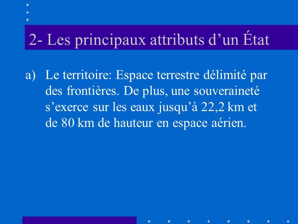 2- Les principaux attributs dun État a)Le territoire: Espace terrestre délimité par des frontières. De plus, une souveraineté sexerce sur les eaux jus