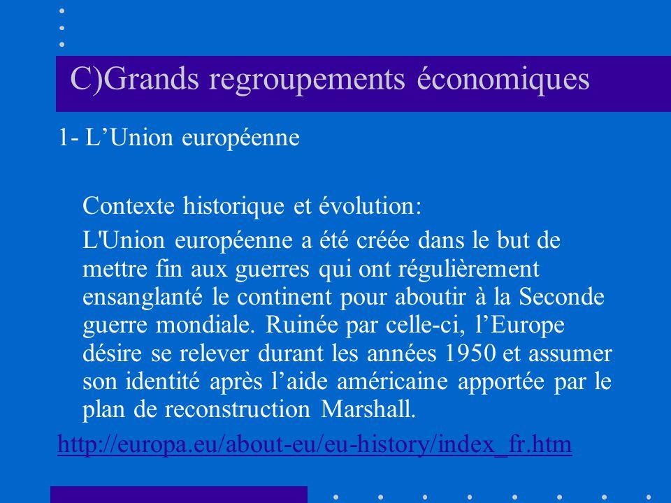 C)Grands regroupements économiques 1- LUnion européenne Contexte historique et évolution: L'Union européenne a été créée dans le but de mettre fin aux