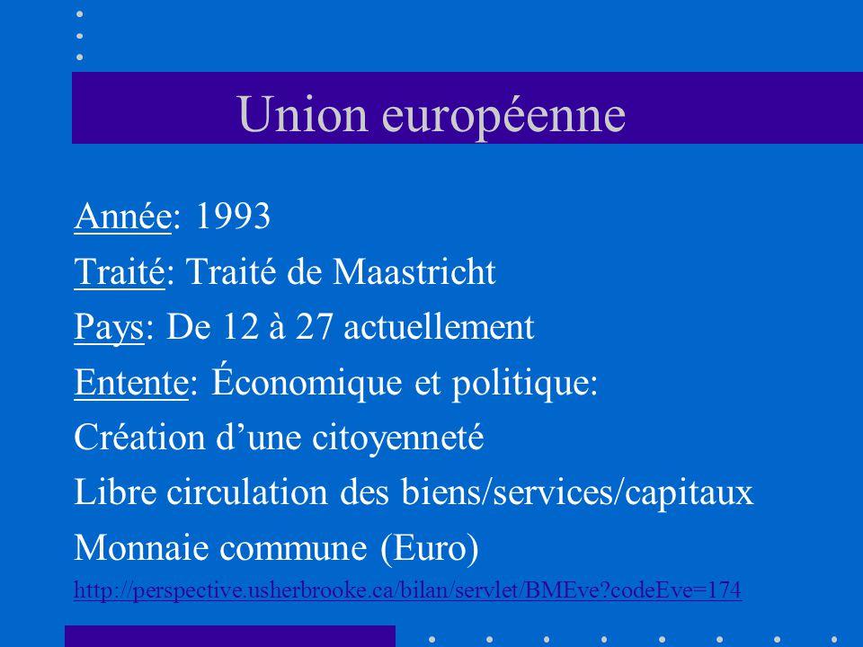 Union européenne Année: 1993 Traité: Traité de Maastricht Pays: De 12 à 27 actuellement Entente: Économique et politique: Création dune citoyenneté Li