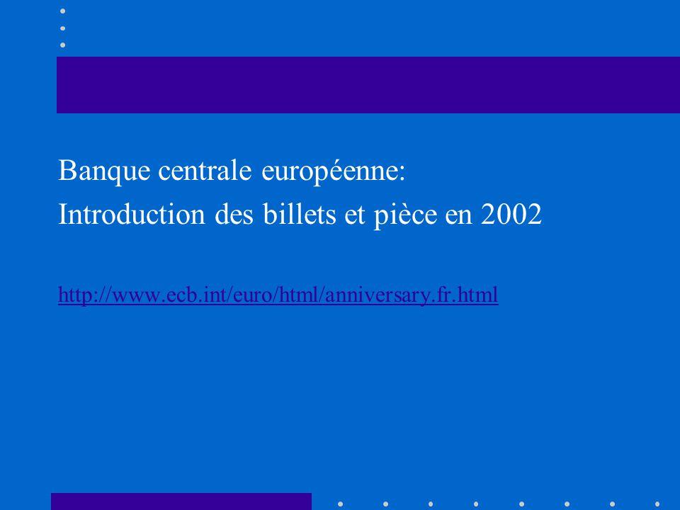 Banque centrale européenne: Introduction des billets et pièce en 2002 http://www.ecb.int/euro/html/anniversary.fr.html