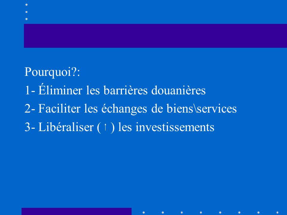 Pourquoi?: 1- Éliminer les barrières douanières 2- Faciliter les échanges de biens\services 3- Libéraliser () les investissements