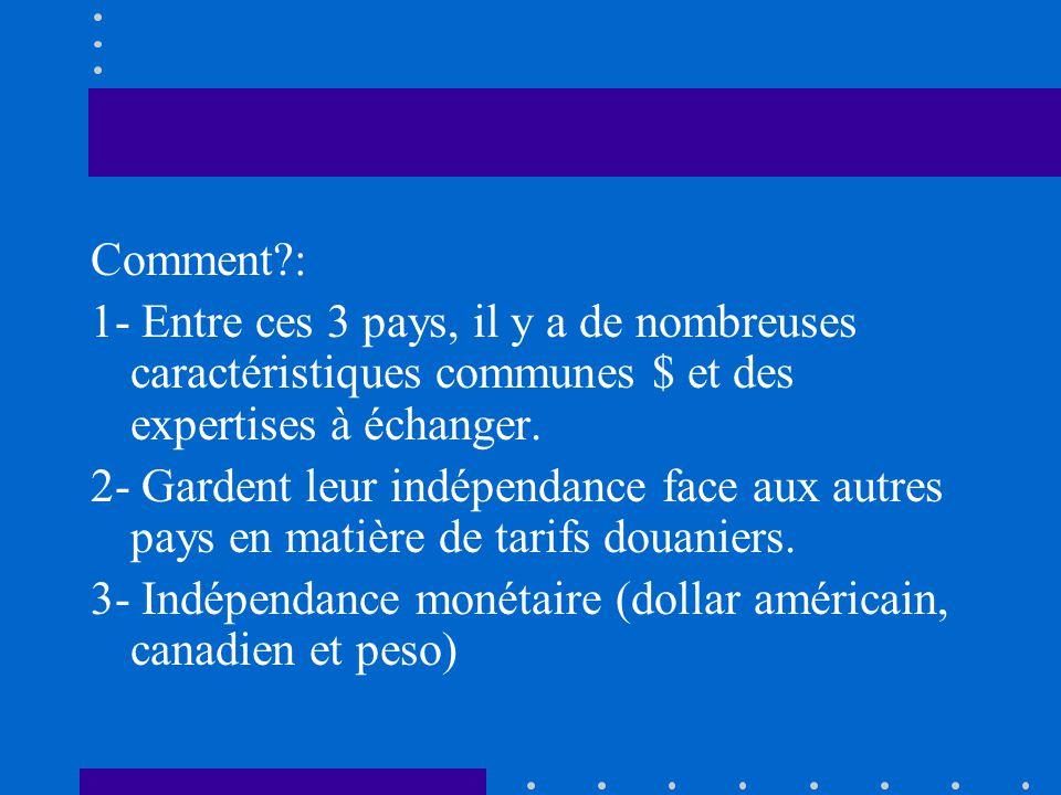 Comment?: 1- Entre ces 3 pays, il y a de nombreuses caractéristiques communes $ et des expertises à échanger. 2- Gardent leur indépendance face aux au