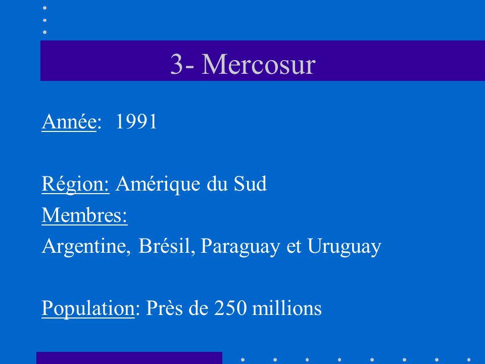 3- Mercosur Année: 1991 Région: Amérique du Sud Membres: Argentine, Brésil, Paraguay et Uruguay Population: Près de 250 millions