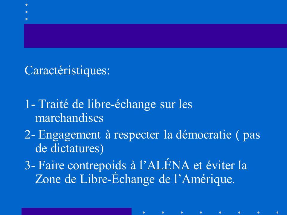 Caractéristiques: 1- Traité de libre-échange sur les marchandises 2- Engagement à respecter la démocratie ( pas de dictatures) 3- Faire contrepoids à