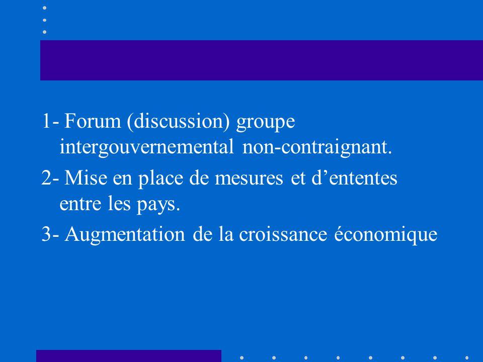 1- Forum (discussion) groupe intergouvernemental non-contraignant. 2- Mise en place de mesures et dententes entre les pays. 3- Augmentation de la croi