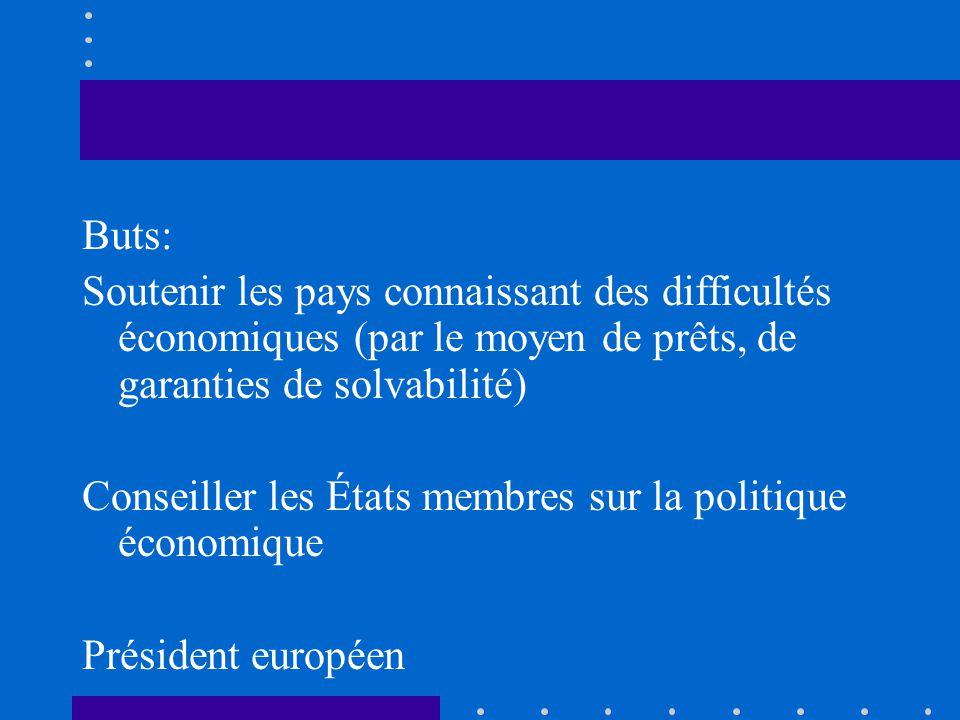 Buts: Soutenir les pays connaissant des difficultés économiques (par le moyen de prêts, de garanties de solvabilité) Conseiller les États membres sur