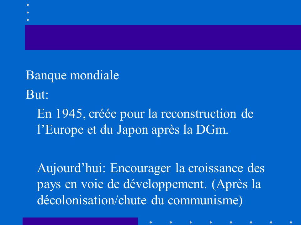 Banque mondiale But: En 1945, créée pour la reconstruction de lEurope et du Japon après la DGm. Aujourdhui: Encourager la croissance des pays en voie