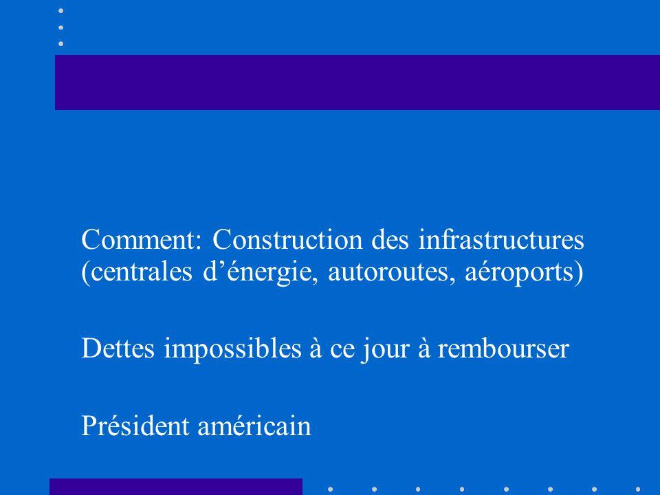 Comment: Construction des infrastructures (centrales dénergie, autoroutes, aéroports) Dettes impossibles à ce jour à rembourser Président américain