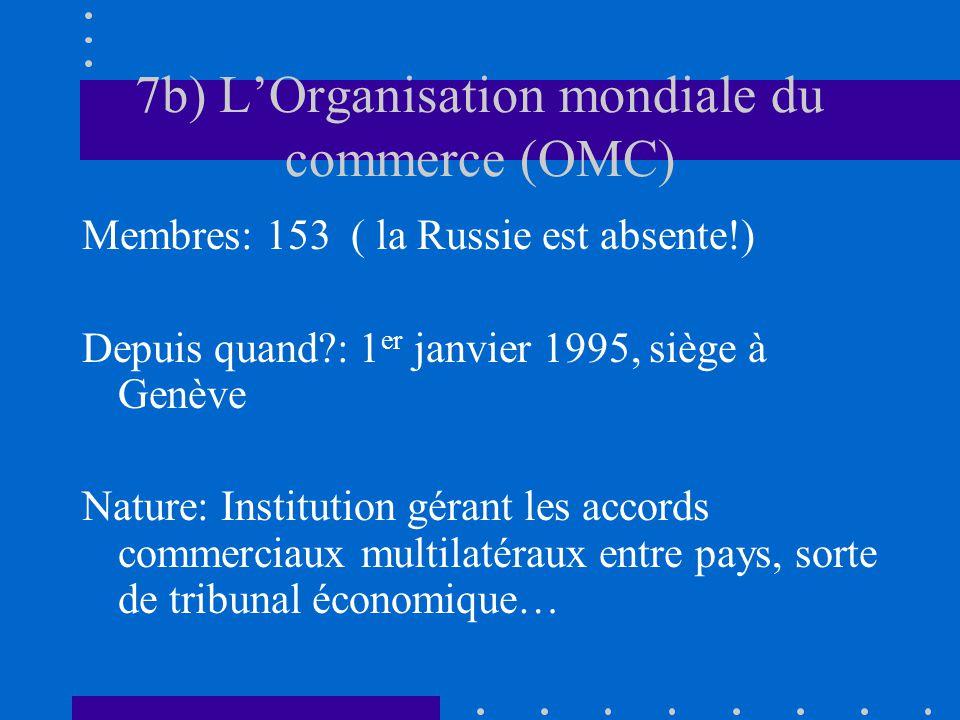 7b) LOrganisation mondiale du commerce (OMC) Membres: 153 ( la Russie est absente!) Depuis quand?: 1 er janvier 1995, siège à Genève Nature: Instituti