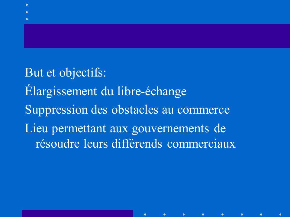But et objectifs: Élargissement du libre-échange Suppression des obstacles au commerce Lieu permettant aux gouvernements de résoudre leurs différends