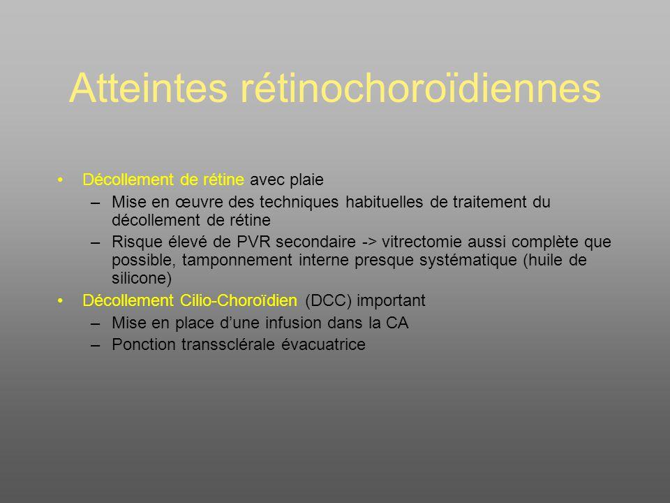 Atteintes rétinochoroïdiennes Décollement de rétine avec plaie –Mise en œuvre des techniques habituelles de traitement du décollement de rétine –Risque élevé de PVR secondaire -> vitrectomie aussi complète que possible, tamponnement interne presque systématique (huile de silicone) Décollement Cilio-Choroïdien (DCC) important –Mise en place dune infusion dans la CA –Ponction transsclérale évacuatrice