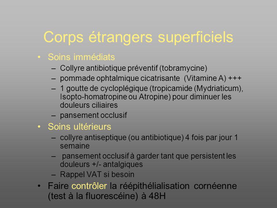 Corps étrangers superficiels Soins immédiats –Collyre antibiotique préventif (tobramycine) –pommade ophtalmique cicatrisante (Vitamine A) +++ –1 goutte de cycloplégique (tropicamide (Mydriaticum), Isopto-homatropine ou Atropine) pour diminuer les douleurs ciliaires –pansement occlusif Soins ultérieurs –collyre antiseptique (ou antibiotique) 4 fois par jour 1 semaine – pansement occlusif à garder tant que persistent les douleurs +/- antalgiques –Rappel VAT si besoin Faire contrôler la réépithélialisation cornéenne (test à la fluorescéine) à 48H
