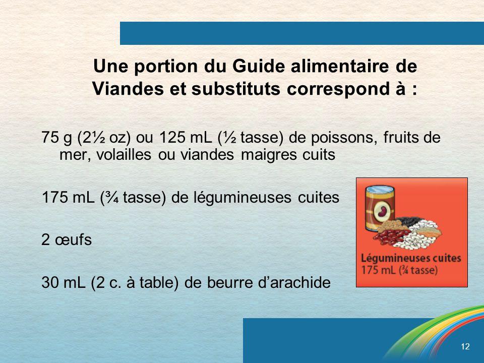 12 Une portion du Guide alimentaire de Viandes et substituts correspond à : 75 g (2½ oz) ou 125 mL (½ tasse) de poissons, fruits de mer, volailles ou