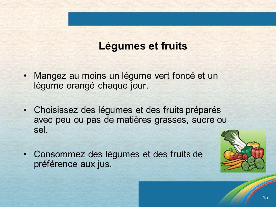 15 Légumes et fruits Mangez au moins un légume vert foncé et un légume orangé chaque jour. Choisissez des légumes et des fruits préparés avec peu ou p