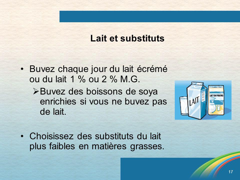 17 Lait et substituts Buvez chaque jour du lait écrémé ou du lait 1 % ou 2 % M.G. Buvez des boissons de soya enrichies si vous ne buvez pas de lait. C