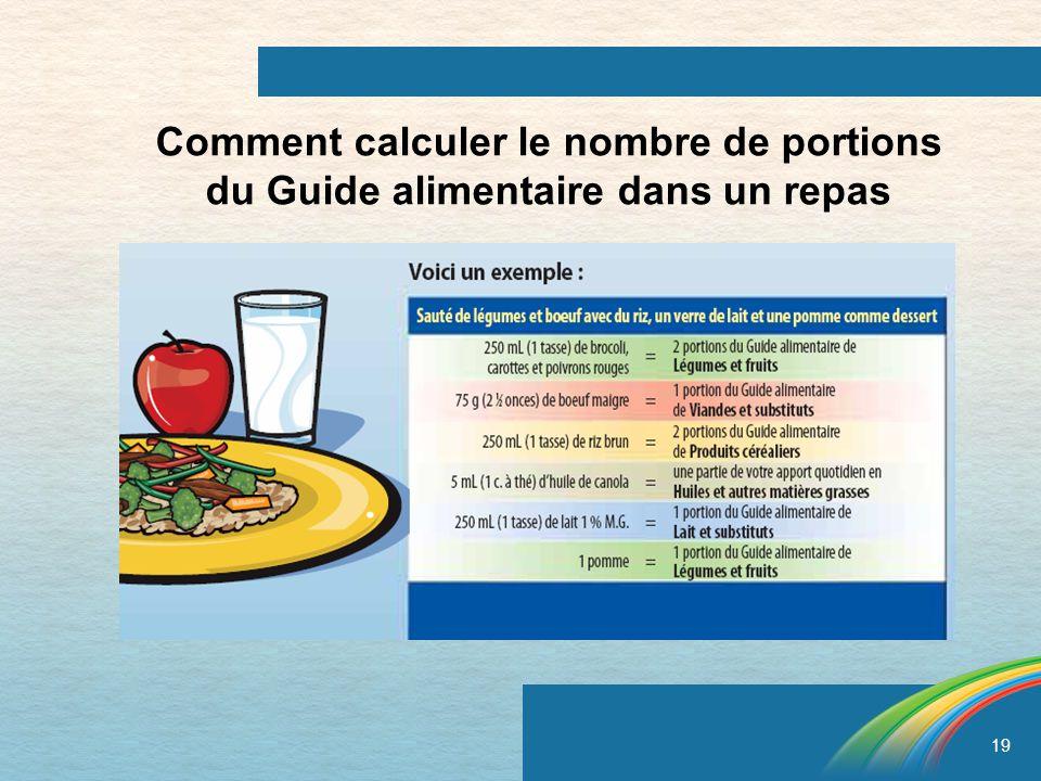 19 Comment calculer le nombre de portions du Guide alimentaire dans un repas