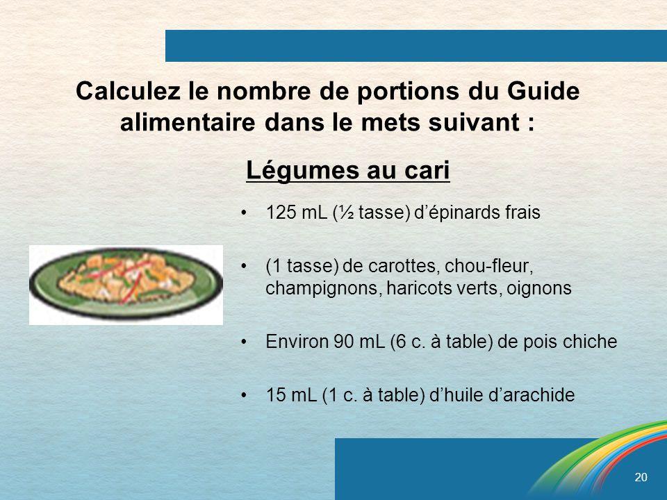 20 Calculez le nombre de portions du Guide alimentaire dans le mets suivant : 125 mL (½ tasse) dépinards frais (1 tasse) de carottes, chou-fleur, cham
