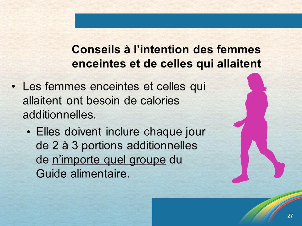 27 Les femmes enceintes et celles qui allaitent ont besoin de calories additionnelles. Elles doivent inclure chaque jour de 2 à 3 portions additionnel