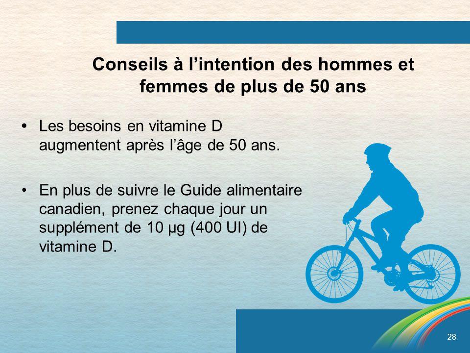 28 Conseils à lintention des hommes et femmes de plus de 50 ans Les besoins en vitamine D augmentent après lâge de 50 ans. En plus de suivre le Guide