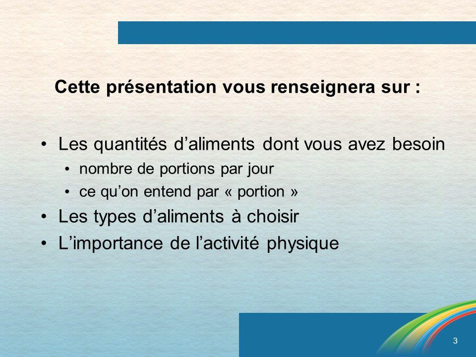 3 Cette présentation vous renseignera sur : Les quantités daliments dont vous avez besoin nombre de portions par jour ce quon entend par « portion » L