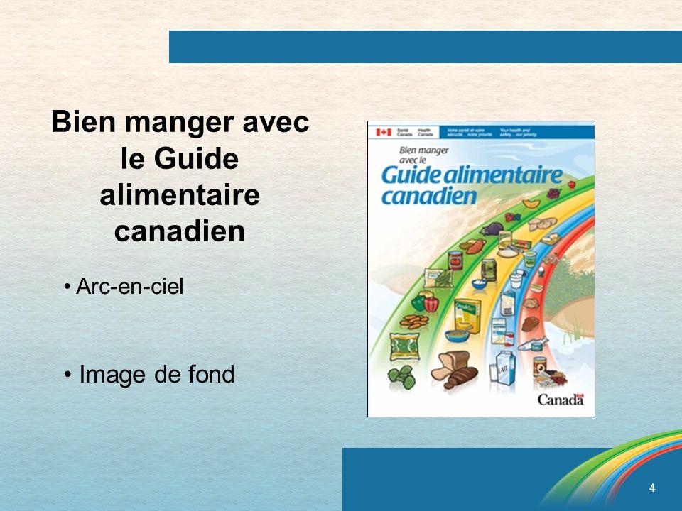 4 Bien manger avec le Guide alimentaire canadien Arc-en-ciel Image de fond