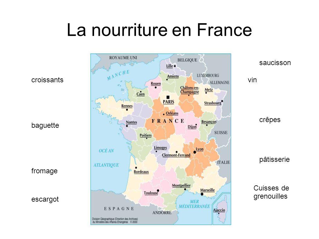 La nourriture en France croissants baguette fromage vin crêpes pâtisserie Cuisses de grenouilles escargot saucisson