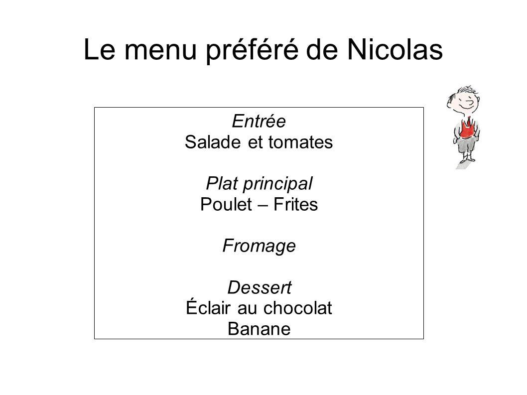 Le menu préféré de Nicolas Entrée Salade et tomates Plat principal Poulet – Frites Fromage Dessert Éclair au chocolat Banane